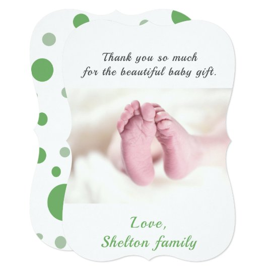 Thank you Green Baby Shower Photo Card