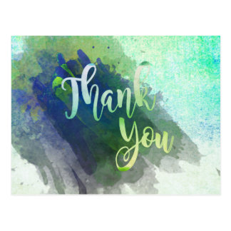 Thank You  Green Lime Watercolor Glitter Postcard