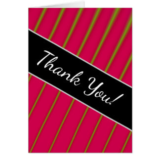 """""""Thank You!"""" + Green Lines on Crimson Pattern Card"""