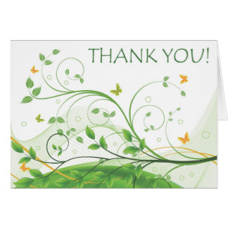 Thank You (Green & Orange Floral) Card