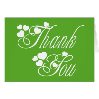 Thank You Green & White Love Hearts  - Wedding Card