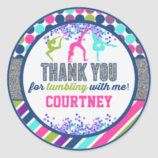 Thank You Gymnastics Tumbling Birthday Party Round Sticker