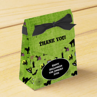 Thank You: Halloween Collage Pattern Green Texture Favor Box