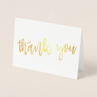 THANK YOU hand lettered modern type GOLD FOIL Foil Card