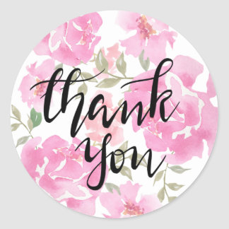 Thank You Handwritten Watercolor Pink Peonies Classic Round Sticker