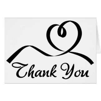 Thank You Heart Black And White Wedding Love Card