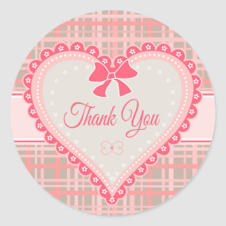 Thank You Heart Pink & Gray Plaid Stripe Stickers