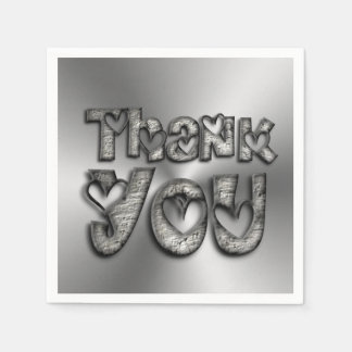 Thank You Hearts Funny Typography Napkins Disposable Napkins