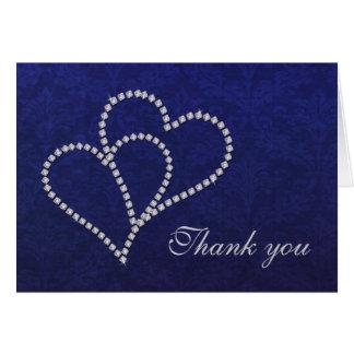 Thank you Hearts - Romance - Dark Blue Damask Card