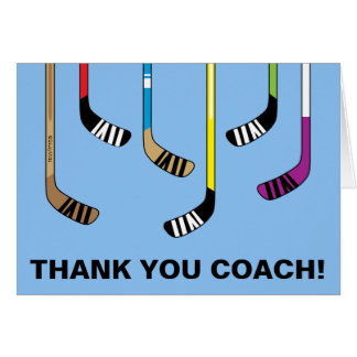 Thank You Hockey Coach Colorful Hockey Sticks Card