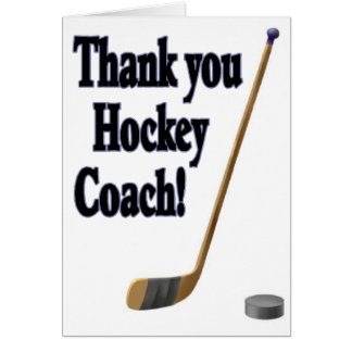 thank you hockey coach greeting cards