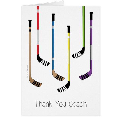 Thank You Hockey Coach Hockey Sticks Greeting Card