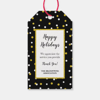 Thank you holiday gift tag black gold confetti