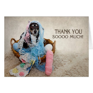 THANK YOU - HUMOR - DOG TANGLED IN YARN CARD