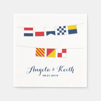 THANK YOU in Colorful Nautical Flags Disposable Napkin