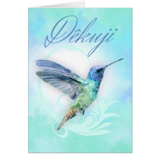 Thank You In Czech - Watercolor Hummingbird Print Card