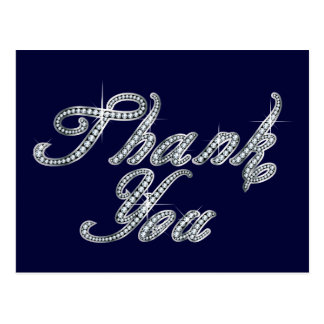 Thank You in Faux-Diamond Bling Script Postcard