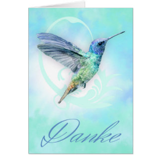 Thank You In German - Watercolor Hummingbird Card