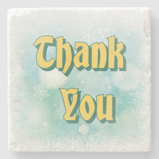 """""""Thank You"""" in Green on Stone Coaster"""