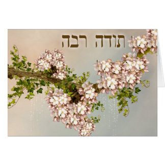Thank You in Hebrew ~Todah Rabah ~ Fruit Blossoms Card