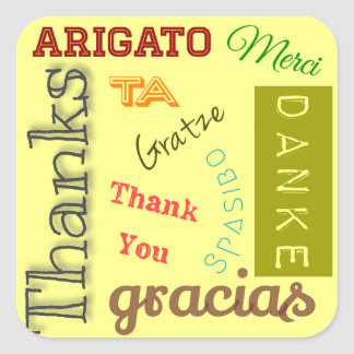 Thank You in Many Languages Typography Design Square Sticker