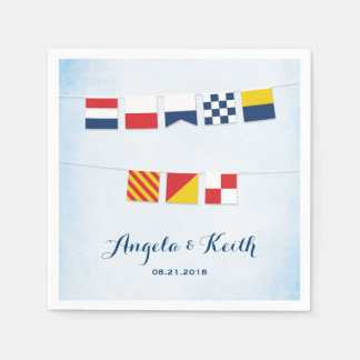 THANK YOU in Nautical Flags Cloud Blue Disposable Napkins