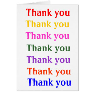 Thank you in rainbow colors card