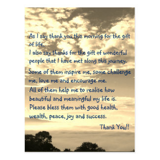 Thank You Inspirational Life Quote Postcard