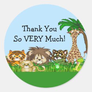 Thank You! Jungel Baby Shower Classic Round Sticker