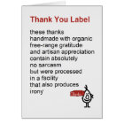 Thank You Label - a funny Thank You poem Card