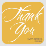 Thank You labels bold brush stroke golden yellow Square Sticker