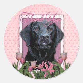 Thank You - Labrador - Black - Gage Classic Round Sticker