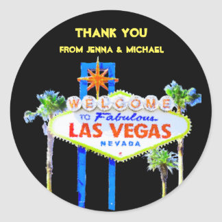 Thank You Las Vegas Couples Classic Round Sticker