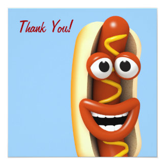 Thank You! Laughing Hot Dog - Thankyou Card