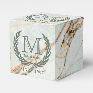 Thank You Laurel Leaf Monogram Beautiful Marble Favor Box