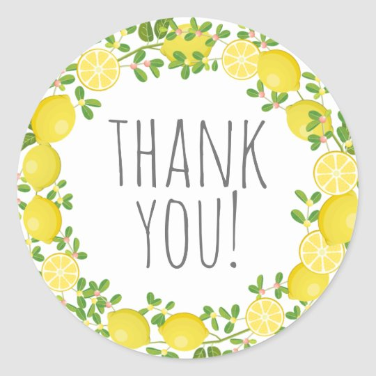 Thank You Lemon Classic Round Sticker