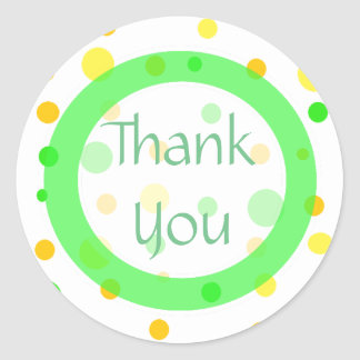 Thank You Lemon Lime and Orange Polka Dots Sticker