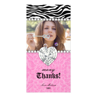 Thank You leopard zebra Lace Pearls Jewel Sweet 16 Photo Cards
