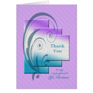 Thank you life-partner, with elegant rectangles card