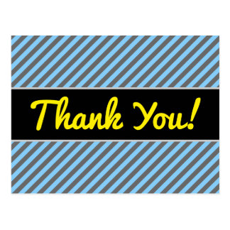 """Thank You!"" + Light Blue & Gray Stripes Pattern Postcard"