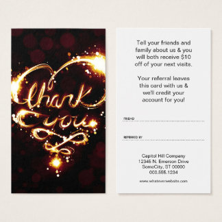 thank you light referral program business card