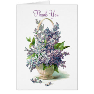 Thank you Lilac Blossoms Basket Card