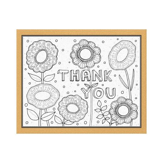 Thank You Line Art Design By Suzy Joyner Canvas Print