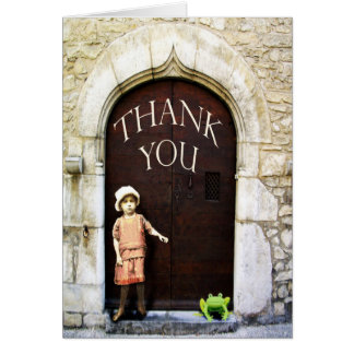 Thank you, little girl and green frog. card