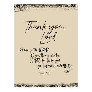 Thank you Lord with Psalms Bible Verse Postcard