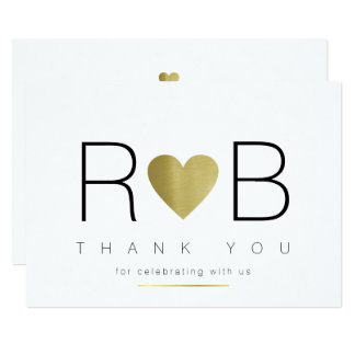 thank you love & couple initials, clear & elegant card