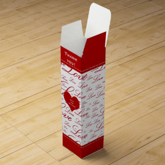 """Thank You - """"Love """" Red Valentine's Typography Wine Gift Box"""
