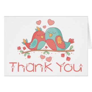 Thank You Lovebirds Blue Green Turquoise Wedding Card