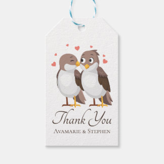 Thank You Lovebirds Brown & White Wedding Birds Gift Tags