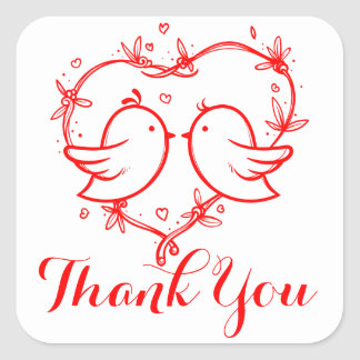Thank You  Lovebirds & Heart Red Wedding Party Square Sticker